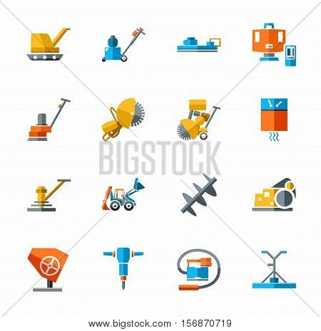 Equipment for working with concrete, construction equipment, icon color. Colored flat vector image of construction equipment and tools on white background.