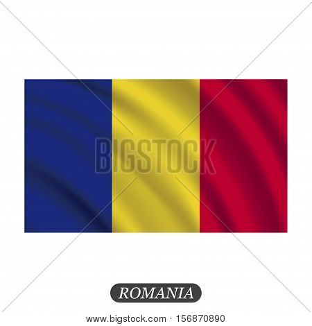 Waving Romania flag on a white background. Vector illustration