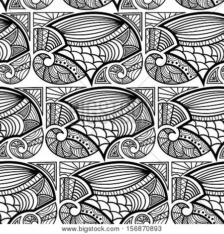 Black and white seamless texture with a fancy pattern