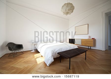 nice apartment refitted, bedroom furniture retro