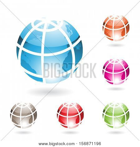 Vector Illustration Colorful Glossy Globe Icons isolated on white