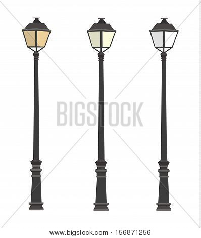 Lamppost. Lanterns. Street lights. Lamp post. vector