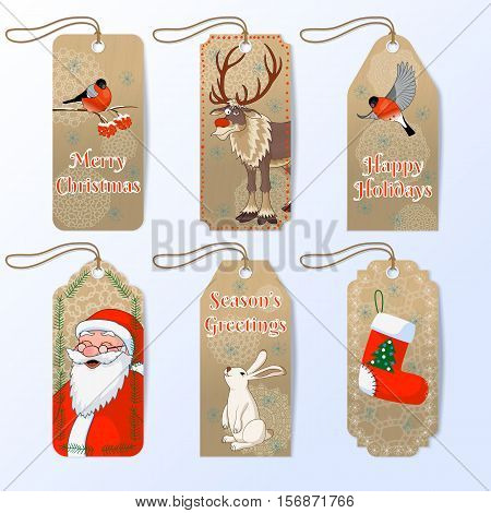 Collection of six cute christmas gift tags with Santa, bullfinch, hare and red nose reindeer Rudolph. Vector illustration