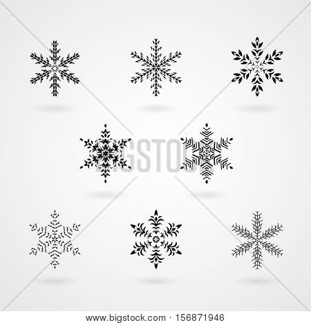 Vector Illustration of Snowflakes Crystals Icons