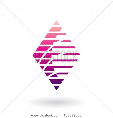 Vector Illustration of a Diamond Shaped Striped Abstract Icon isolated on a white background
