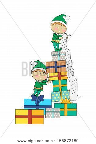 Fairy elves with christmas presents. Flat design vector. Funny Christmas elfs in green suits holding, counting, carrying gift boxes with stripes. Winter holidays celebrating symbols. On white
