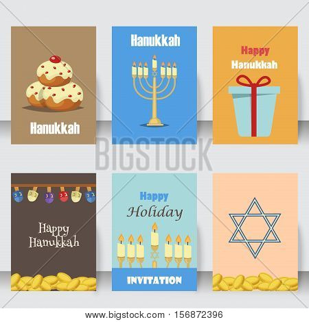 Hanukkah traditional jewish holiday cards set vector. Various jewish cards and invitation hanukkah celebration flat icons set isolated vector. Jewish hanukkah card church traditional religious.