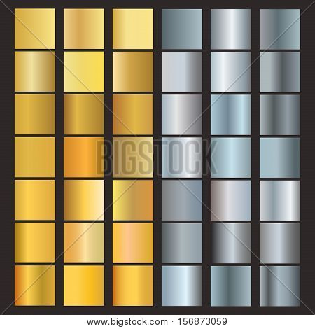 Set of silver and gold gradients. Metallic squares collection vector. Gold gradient set blank template graphic. Shiny golden and silver gradient set frame reflection steel various background.