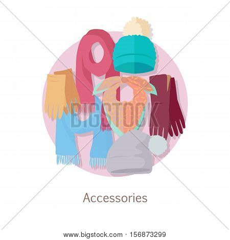 Men s accessories. Vector set with hand drawn colored object on theme of fashion. Fashionable clothes for man. Autumn winter new collection. Bags, shoes, hats and scarves. Vector in flat style