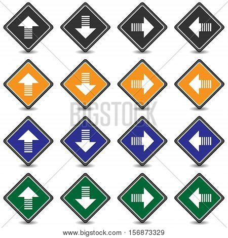Collection of 16 isolated multicolor icons (buttons) on white background with shadows - up arrow, down arrow, right arrow, left arrow