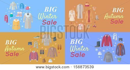 Seasonal Sales Vector Concepts. Flat style. Big winter and autumn sales. Warm mens, and women s clothes, shoes and accessories for cold season on colored backgrounds. For store discounts ad design