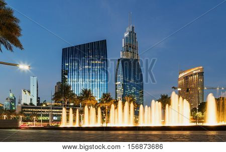 DUBAI UAE - NOVEMBER 9 2016: Boulevard Plaza facade in Dubai UAE. Boulevard Plaza is a exclusive commercial towers at Downtown Burj Dubai.