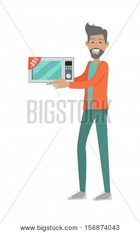 Discounts in electronics store concept. Smiling man standing with microwave bought on sale flat vector illustration on white background. Shopping on home appliances sellout. For shop promotions ad