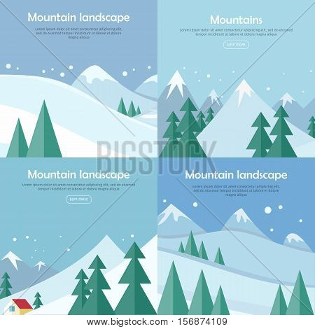 Mountains landscape banners set. Mountaineering mountain climbing Alpinism concept. Extreme hills in snowy high mountains. Sport season winter holiday resort. Blue sky and crystal white snow. Vector