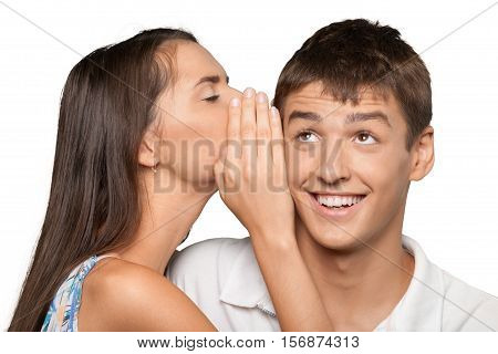 Portrait of a Woman Whispering to a Man