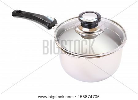 Wide glass cover black handle pot on white background.