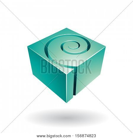 Vector Illustration of a Cubical Spiral Shape Abstract Icon isolated on a white background