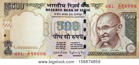 DELHI, INDIA - MARCH 02: Mahatma Gandhi on the wallets of 500 Indian rupees, on March 02, 2016 in Delhi, India.
