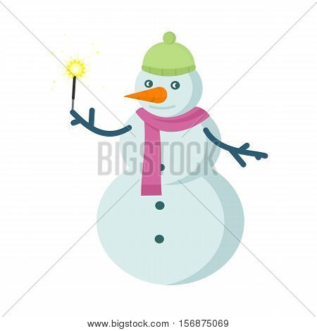 Snowman vector illustration. Snowman made with three balls of snow with bucket instead of hat, carrot nose and hands from branches holding sparkler. Snowy entertainments. Celebrating winter holidays