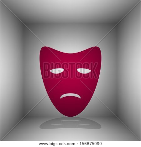 Tragedy Theatrical Masks. Bordo Icon With Shadow In The Room.