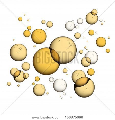 Oil Bubbles Isolated on White Background Closeup Collagen Emulsion in Water. Vector Illustration. Gold Serum Droplets.
