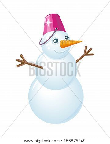 Snowman vector illustration. Flat design. Snowman made with three balls of snow with bucket instead of hat, carrot nose and hands from branches. Snowy entertainments. Celebrating winter holidays
