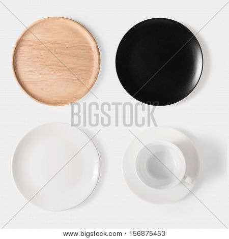 Mockup Black Dish, White Dish, Wooden Plate And Cup Of Coffee Set Isolated On White Background. Copy