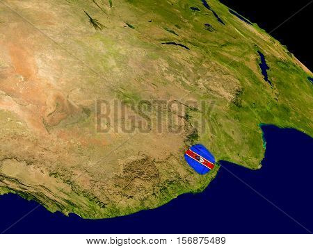 Swaziland With Flag On Earth