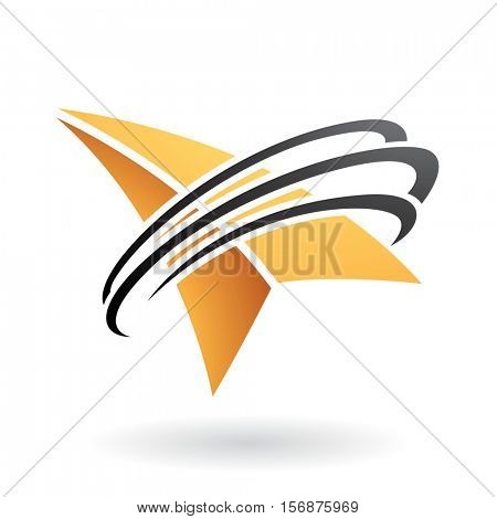 Vector Illustration of an Arrow and Ring Shaped Abstract Icon isolated on a white background