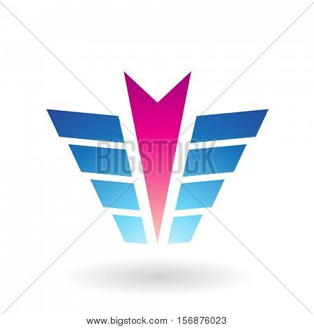 Vector Illustration of an Arrow and Wing Shaped Abstract Icon isolated on a white background