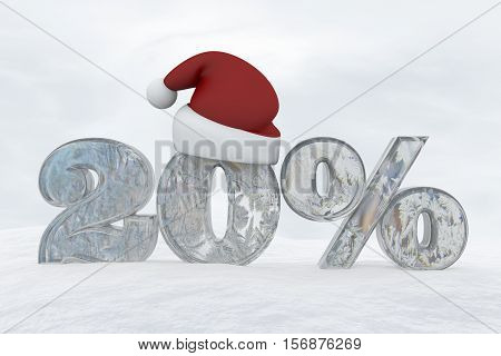 20 percent discount ice number with christmas hat 3d rendering illustration snow