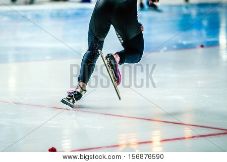 dynamic start athlete speed skater to sprint on ice rink. competitions in speed skating