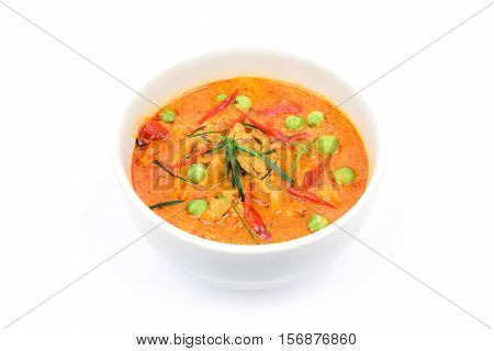 Panaeng curry with pork or Red curry with pork (Panang pork) isolated on white background