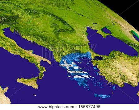 Greece With Flag On Earth