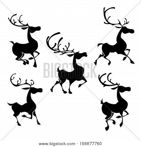 Christmas reindeers silhouettes on the white background. Deer's poses big horns. Musclular bucks. Isolated stock vector