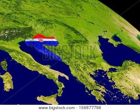 Croatia With Flag On Earth