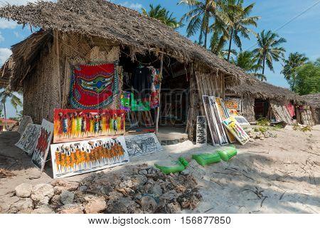ZANZIBAR, TANZANIYA- JULY 10: local stalls with souvenirs for tourists in Zanzibar village on July 10, 2016 in Zanzibar