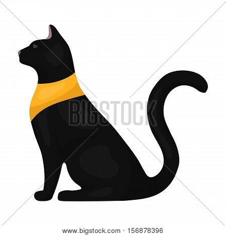 Cat goddess Bastet icon in cartoon style isolated on white background. Ancient Egypt symbol vector illustration.