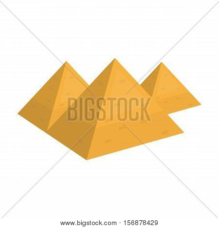 Egyptian pyramids icon in cartoon style isolated on white background. Ancient Egypt symbol vector illustration.