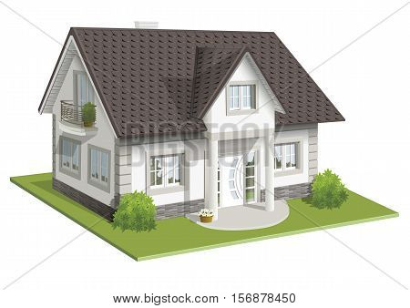 ector illustration 3d of real classic house