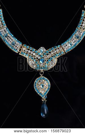Indian Traditional Jewellery Diamond Necklace Stock Photo