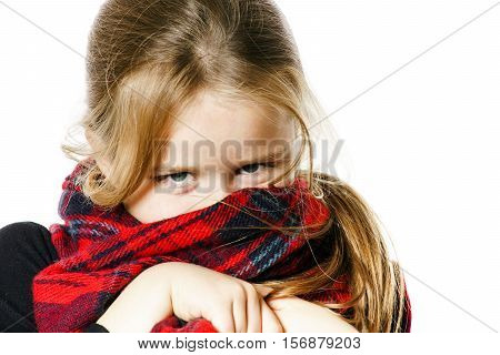 Cute Little Girl Dressing By Red Comfort Scarf