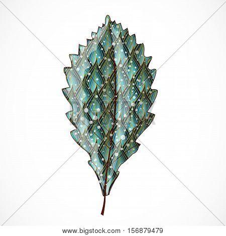 Abstract blue and golden leaf. Illustration 10 version