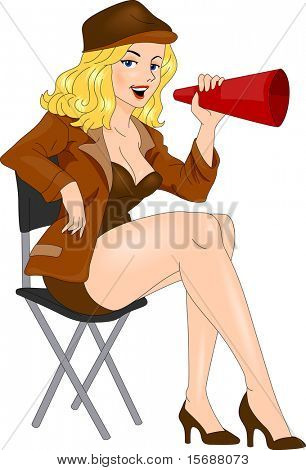 Illustration of a Pin-up Girl Acting the Part of a Director