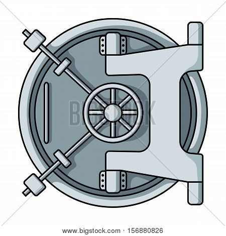 Bank vault icon in cartoon style isolated on white background. Money and finance symbol vector illustration.