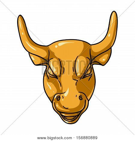 Golden Charging Bull icon in cartoon style isolated on white background. Money and finance symbol vector illustration.