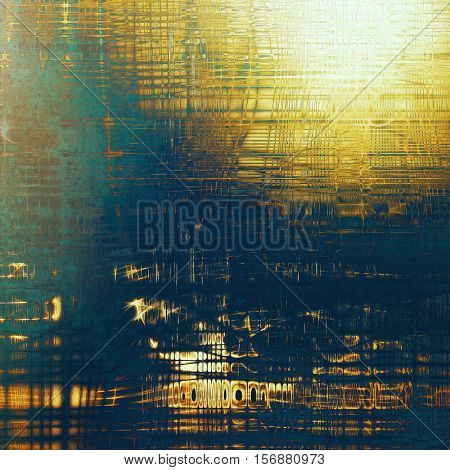 Grunge background with delicate aged texture. Antique backdrop with retro vintage elements and different color patterns: yellow (beige); brown; blue; cyan; white