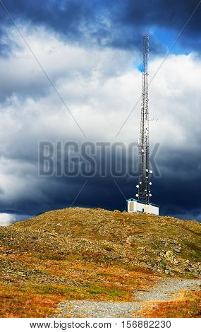 Vertical Meteorological Tower At Norway Background