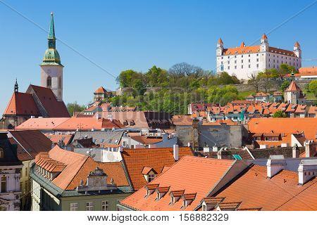 Medieval castle on the hill against the sky Bratislava Slovakia