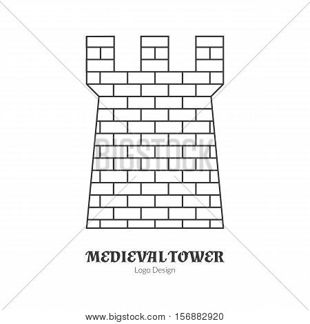 Medieval brick tower fortification. Single logo in modern thin line style isolated on white background. Outline medieval theme symbol. Simple mono linear pictogram. Stroke vector logotype template.